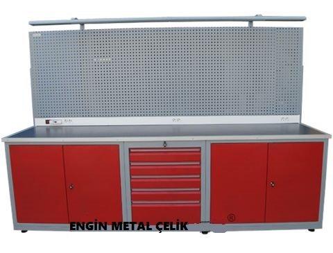 çelik çekmeceli tezgah